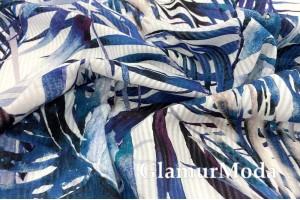 Рубашечный хлопок TOBIN, синие листья, Турция PN1107