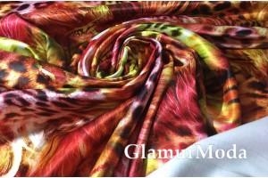 Сатин-хлопок гепардовый рисунок цвета пламени