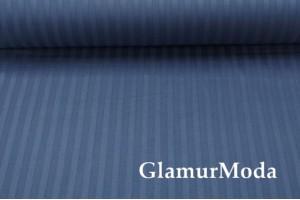 Сатин Страйп мерсеризованный 240 см, N46 темно-синего цвета