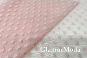 Сетка в горох 0.5 см нежно-розового цвета