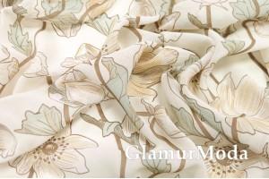Шифон, нежно-бежевые цветы на молочном фоне