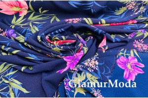 Шифон стрейч розовые и сиреневые цветы на темно-синем фоне