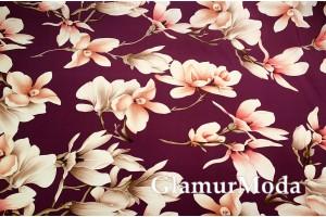 Шифон стрейч бежевые цветы на сливовом фоне