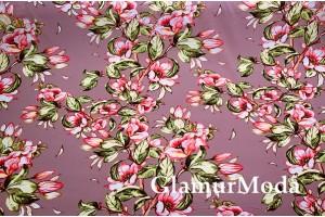 Шифон стрейч розовые цветы на пудрово-сиреневом фоне