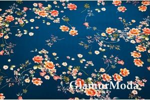 Шифон стрейч цветы на темно-бирюзовом фоне