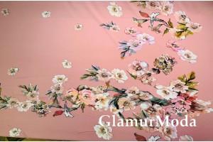 Шифон стрейч цветочные букеты на пудровом фоне