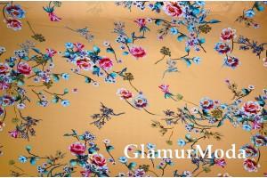 Шифон стрейч цветы на горчичном фоне
