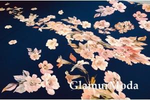 Шифон стрейч цветочные букеты на темно-синем фоне