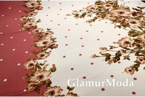 Шифон стрейч цветы и горошек на молочном и темно-розовом
