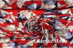 Штапель вальс цветов на красном фоне