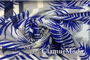 Штапель тропики синие на белом фоне