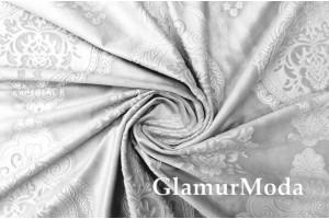 Бархат для штор рисунок Дамаск, светло-серого цвета 300 см, Китай