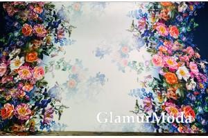 Софт цветы на сине-молочном фоне