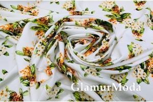 Креп софт цветочные букеты на белом фоне