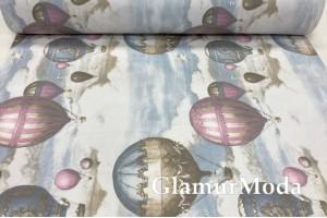 Ранфорс (поплин LUX) 240 см, сказочные воздушные шары, голубое небо