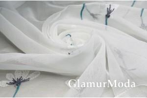 Тюль с вышивкой белого цвета 300 см с утяжелителем