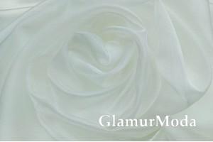 Тюль Органза с утяжелителем молочный цвет №2, арт. 327, 300 см