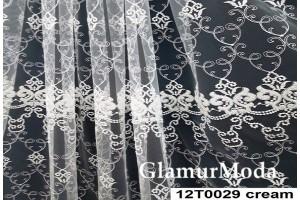 Тюль с рисунком кремового цвета, дизайн 120029, Турция