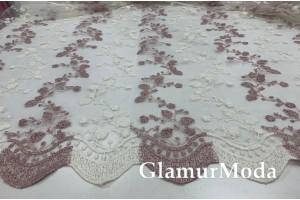 Тюль с вышивкой пудрово-белого цвета дизайн 12119V, Турция