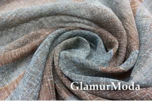 Тюль сине-коричневая с коричневыми полосами, 300 см, с утяжелителем