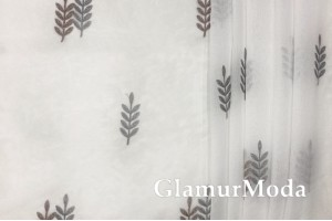 Тюль серые и коричневые веточки с люрексом, цвет слоновой кости, Турция