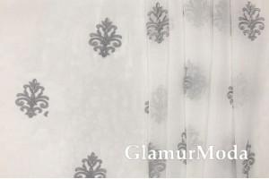 Тюль серые узоры, цвет слоновой кости, Турция