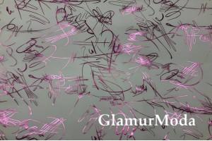 Пленка ТПУ для одежды, надписи розовым глиттером