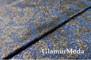 Трикотаж с напылением, узоры на синем фоне