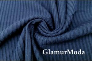 Трикотаж лапша тёмно-синего цвета