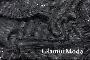 Трикотаж c люрексом, блестящие полоски черного цвета