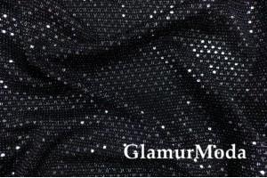 Трикотаж c люрексом, блестящие полоски из кружочков, черный цвет