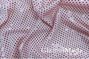 Трикотаж c люрексом, блестящие полоски из кружочков, розовый цвет