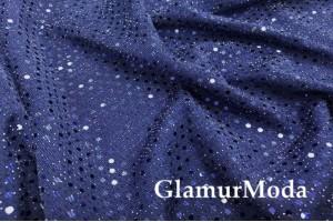 Трикотаж c люрексом, блестящие полоски из кружочков, темно-синий цвет