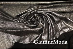 Трикотаж с люрексом (голограмма) темно-серебряного цвета