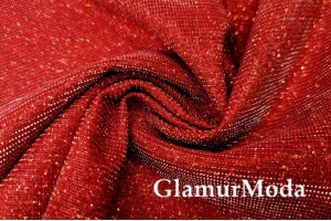Трикотаж Хамелеон c люрексом красного цвета
