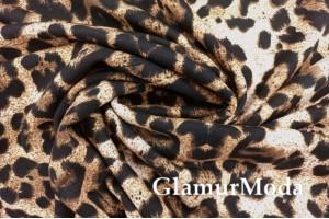 Трикотаж на меху Леопард на коричневом фоне