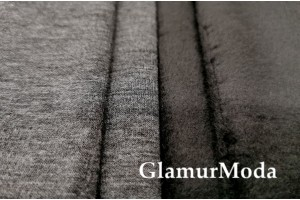 Трикотаж на меху цвета тёмно-серый меланж арт.5463