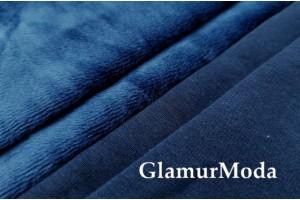 Трикотаж на меху тёмно-синего цвета