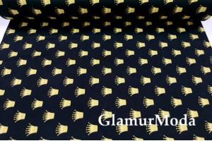 Ранфорс (поплин LUX) 240 см с глиттером, золотые короны на черном фоне