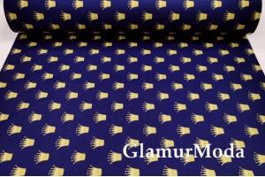 Ранфорс (поплин LUX) 240 см с глиттером, золотые короны на темно-синем фоне