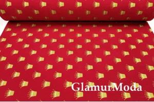 Ранфорс (поплин LUX) 240 см с глиттером, золотые короны на красном фоне