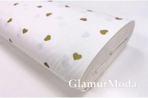 Ранфорс (поплин LUX) 240 см с глиттером, хаотичные золотые сердца на белом