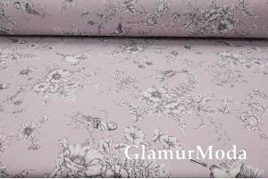 Хлопок Пике 240 см, Птички на серо-розовом фоне