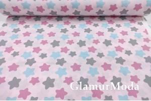 Ранфорс (поплин LUX) 240 см, разноцветные прянички на розовом фоне