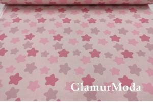 Ранфорс (поплин LUX) 240 см, темно-розовые прянички на розовом фоне