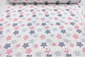 Ранфорс (поплин LUX) 240 см, серые и розовые прянички на белом фоне