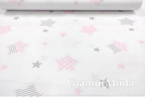 Ранфорс (поплин LUX) 240 см, прянички и звезды, серый и розовый цвет