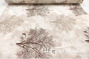 Ранфорс (поплин LUX) 240 см, деревья на бежевом фоне