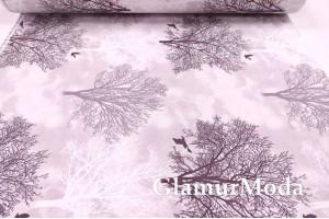 Ранфорс (поплин LUX) 240 см, деревья на пудровом фоне