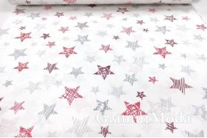 Ранфорс (поплин LUX) 240 см, красно-серые звезды на белом фоне